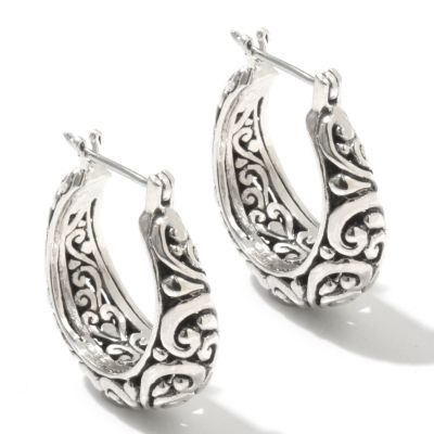 "131-766 - Artisan Silver by Samuel B. 1"" Textured Swirl Design Hoop Earrings"
