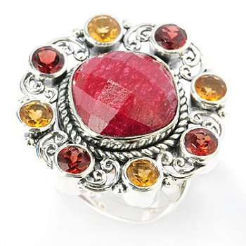 131-769 - Artisan Silver by Samuel B. 12 x 12mm Dyed Ruby, Garnet & Citrine Ring