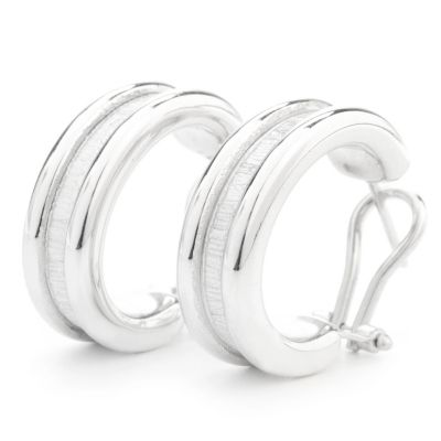 131-786 - Palatino™ Platinum Embraced™ Brushed Panel Hoop Earrings w/ Omega Backs
