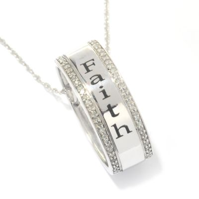 131-792 - Diamond Treasures Sterling Silver 0.19ctw Diamond Inspirational Pendant w/ Chain