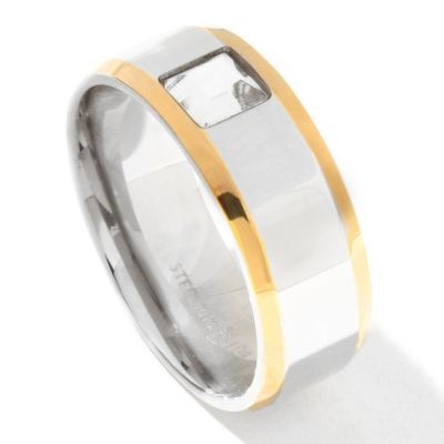 131-803 - Steeltime Men's Two-tone Stainless Steel Square Crystal Band Ring