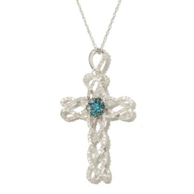 131-808 - Diamond Treasures Sterling Silver 0.98ctw White & Blue Diamond Cross Pendant w/ Chain