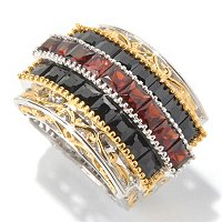 SS/PALL RING 3-ROW PRINCESS-CUT GARNET & BLK SPINEL WIDE BAND