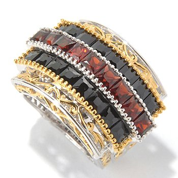 131-813 - Gems en Vogue II Princess Cut Black Spinel & Garnet Three-Row Ring