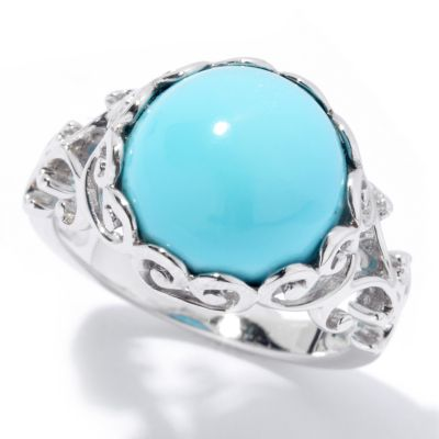 131-834 - Gem Insider Sterling Silver 12mm Sleeping Beauty Turquoise Scroll Ring
