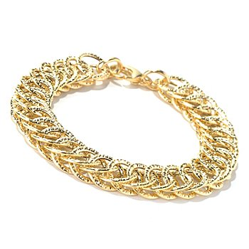 131-866 - Italian Designs with Stefano 14K Gold Textured Double Sided Bracelet