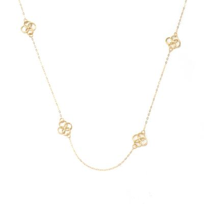 "131-870 - Italian Designs with Stefano 14K Gold 24"" Overlapping Rings Station Necklace"