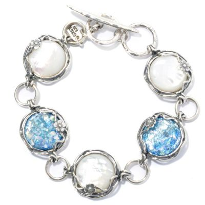 "131-889 - Passage to Israel Sterling Silver 8"" Mother-of-Pearl & Roman Glass Toggle Bracelet"
