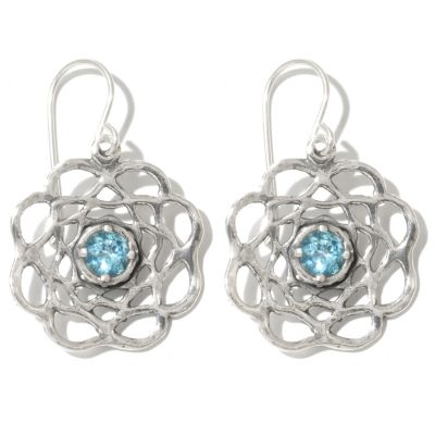 "131-894 - Passage to Israel Sterling Silver 1.25"" Light Blue Topaz Flower Drop Earrings"