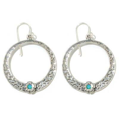 "131-899 - Passage to Israel Sterling Silver 1.75"" Simulated Blue Opal Circle Drop Earrings"