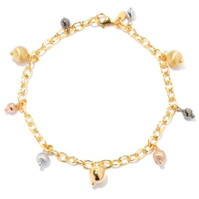 131-906 - Portofino Gold Embraced™ Italian-Made Beaded Rolo Link Anklet