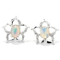 SS EITHIOPIAN OPAL & DIAMOND FLOWER EARRINGS