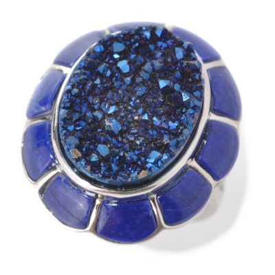 131-949 - Gem Insider Sterling Silver 17 x 13mm Oval Blue Drusy & Lapis Framed Ring