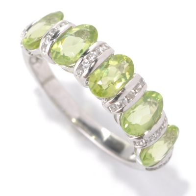131-952 - Gem Insider Sterling Silver 2.65ctw Peridot & White Zircon Band Ring