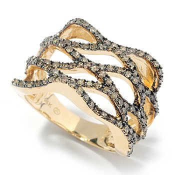 131-953 - Beverly Hills Elegance 14K Gold 1.00ctw Mocha Diamond Open Weave Ring