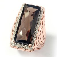 SS/ROSE VERMEIL SMOKEY QUARTZ W/ DIAMOND SQUARE RING
