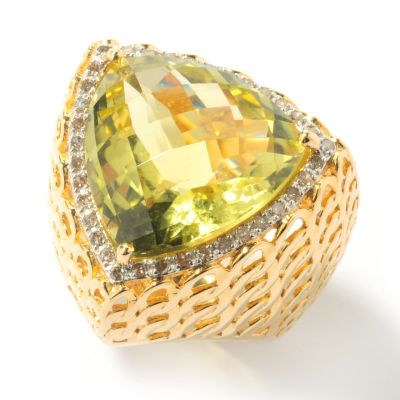 131-955 - Beverly Hills Elegance 14.85ctw Lemon Quartz & Champagne Diamond Triangle Ring