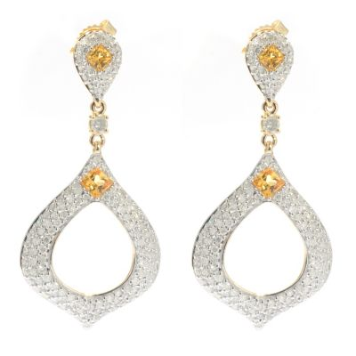 "131-956 - Beverly Hills Elegance 14K Gold 1.25"" 1.55ctw Diamond & Yellow Sapphire Earrings"