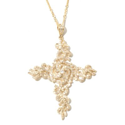 "131-957 - Beverly Hills Elegance 14K Gold 1.20ctw Diamond Cross Pendant w/ 18"" Designer Chain"