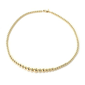 131-983 - Portofino Gold Embraced™ 17'' High Polished Graduated Bead Necklace