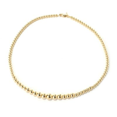 "131-983 - Portofino Gold Embraced™ 17"" High Polished Graduated Bead Necklace"