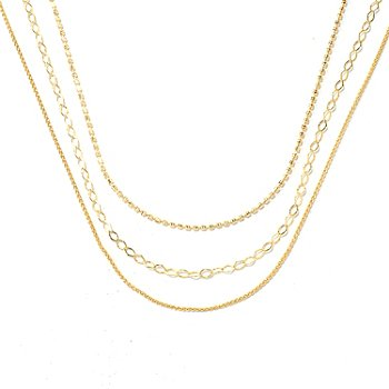 131-985 - Portofino Gold Embraced™ Set of Three Polished Chain Necklaces