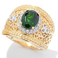 SS/P RING 9x7MM CHROME DIOPSIDE & WHT ZIRCON WIDE BAND