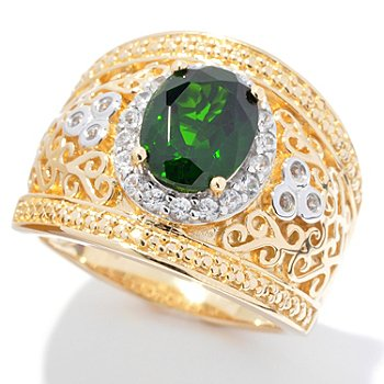 131-994 - NYC II 9 x 7mm Chrome Diopside & White Zircon Wide Band Ring