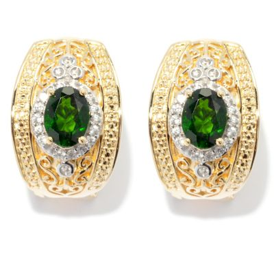 131-996 - NYC II 8 x 6mm Chrome Diopside & White Zircon Earrings w/ Omega Backs