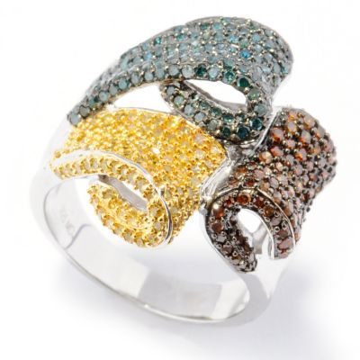 132-007 - Diamond Treasures Sterling Silver 1.75ctw Blue, Red & Yellow Diamond Tri-Flap Ring