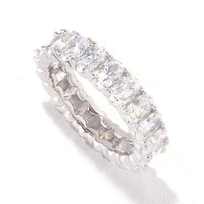 "132-092 - ""As Is"" Brilliante® Platinum Embraced™ 4.20 DEW Oval Cut Eternity Band Ring - Size 10"