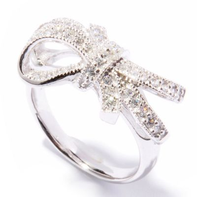 132-095 - Brilliante® Platinum Embraced™ Round Cut Bow Ring