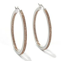 SS CHAMPAGNE DIAMOND HOOP EARRINGS