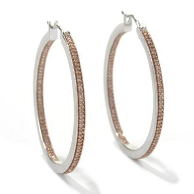 132-097 - Diamond Treasures Sterling Silver 0.50ctw Champagne Diamond Inside-Out Hoop Earrings
