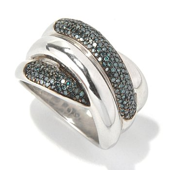 132-098 - Diamond Treasures Sterling Silver 0.50ctw Blue Diamond Overlap Band Ring