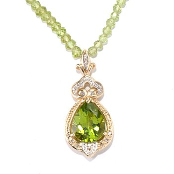 132-104 - The Vault from Gems en Vogue II 14K Gold 18'' Peridot & Diamond Beaded Necklace