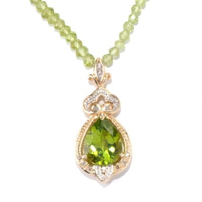 "132-104 - The Vault from Gems en Vogue II 14K Gold 18"" Peridot & Diamond Beaded Necklace"
