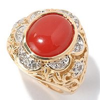 14K RING CORAL & BLK DIAMOND