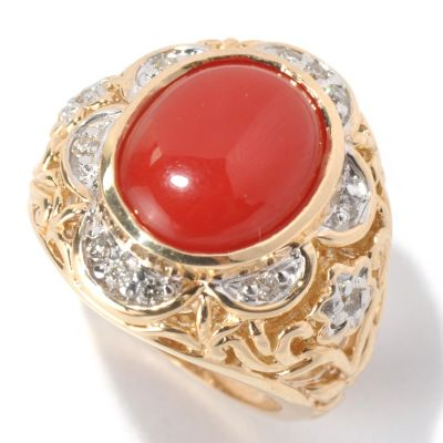 132-105 - The Vault from Gems en Vogue II 14K Gold Red Coral & Diamond Flower Design Ring