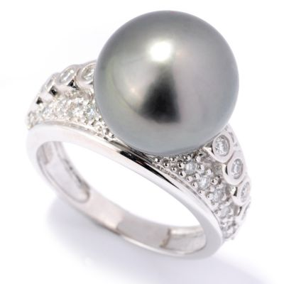 132-106 - The Vault from Gems en Vogue II 14K Gold 12-12.5mm Cultured Pearl & Diamond Ring