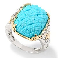 14K TWO-TONE RING CARVED SLEEPING BEAUTY TURQUOISE & DIAMOND
