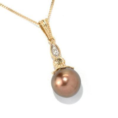 132-119 - The Vault from Gems en Vogue II 14K Gold 9-9.5mm Cultured Pearl & Diamond Pendant