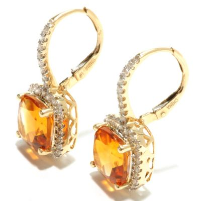 132-158 - Gem Treasures 14K Gold 5.24ctw Madeira Citrine & Diamond Halo Leverback Earrings