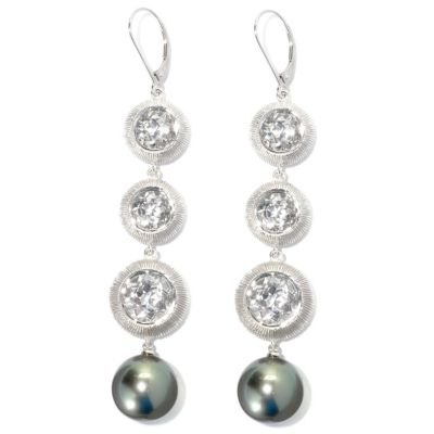 "132-176 - Sterling Silver 3.25"" 14mm Peacock Tahitian Cultured Pearl & Topaz Drop Earrings"