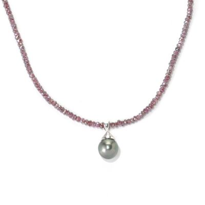 "132-184 - 20"" 11-12mm Exotic Cultured Pearl & Faceted Garnet Necklace w/ Magnetic Clasp"