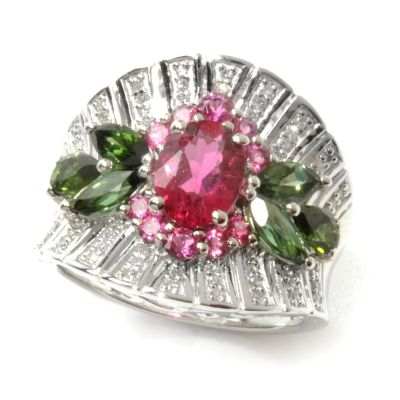 132-187 - Gem Treasures Sterling Silver 2.65ctw Diamond & Tourmaline Duo Floral Ring