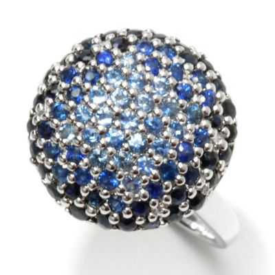 132-190 - Gem Treasures Sterling Silver 1.33ctw Shades of Blue Sapphire Button Ring