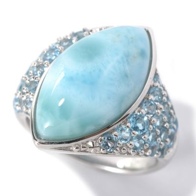 132-193 - Gem Insider Sterling Silver 20 x 10mm Marquise Larimar & Swiss Blue Topaz Ring