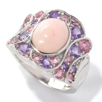 132-198 - Gem Insider Sterling Silver 10 x 8mm Pink Opal & Multi Gemstone Concave Swirl Ring