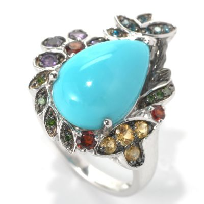 132-200 - Gem Insider Sterling Silver 15 x 10mm Sleeping Beauty Turquoise & Multi Gem Ring
